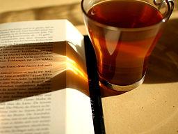 Reading and Drinking Tea by Erik Vanden