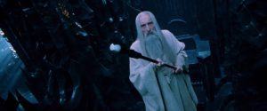 "Saruman the White (Sir Christopher Lee) from ""The Lord of the Rings: The Fellowship of the Ring"""