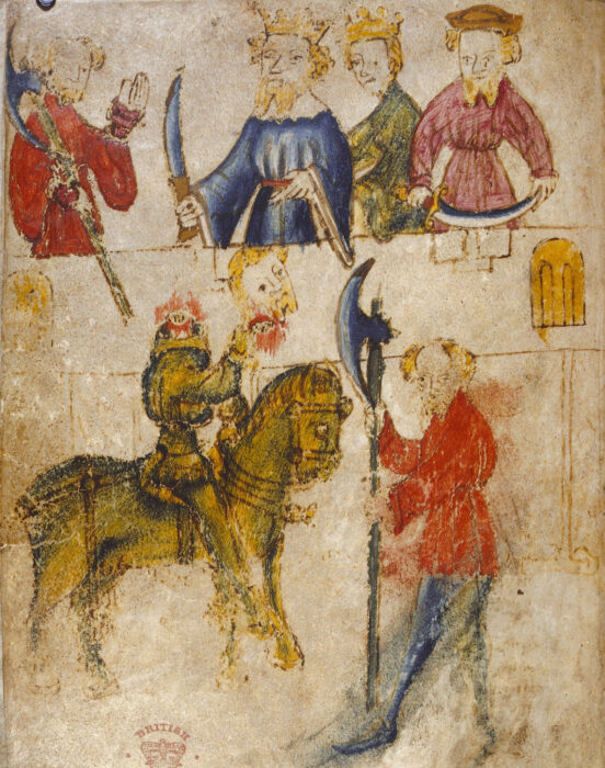 Sir Gawain and the Green Knight (from original manuscript, artist unknown)